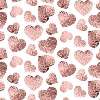 Corazones de oro rosa de patrones sin fisuras