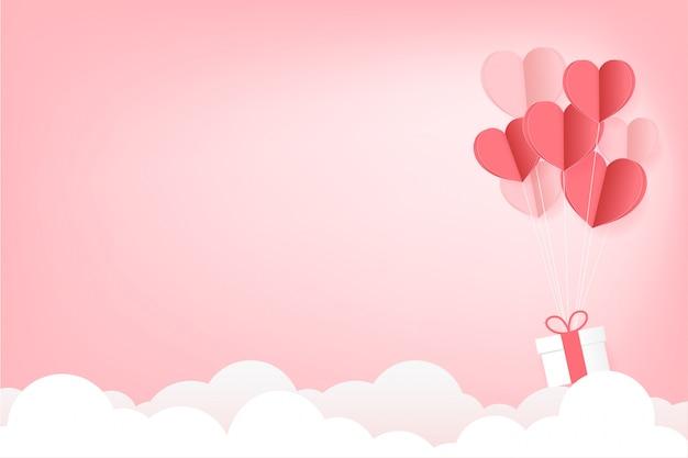 Corazones de papel flotan e hilo rojo atados juntos póster de alma gemela con espacio de copia en cielo rosa con fondo de nubes. ilustración, cartel del día de san valentín