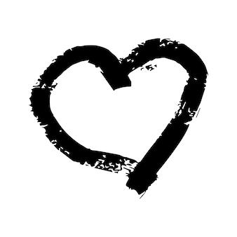 Corazones de pincel dibujados a mano. corazón de doodle negro grunge sobre fondo blanco. símbolo de amor romántico. ilustración vectorial.