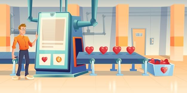 Corazones de producción de fábrica, personaje masculino ingeniero con soporte de llave en cinta transportadora con gran pantalla táctil y línea de procesamiento. amor o tecnología de fabricación, ilustración de dibujos animados