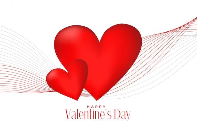 Corazones rojos 3d con fondo de línea onda día de san valentín