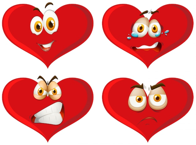 Corazones rojos con expresiones faciales