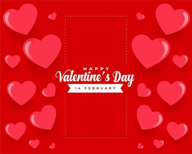 Corazones rojos feliz día de san valentín hermoso diseño de tarjeta