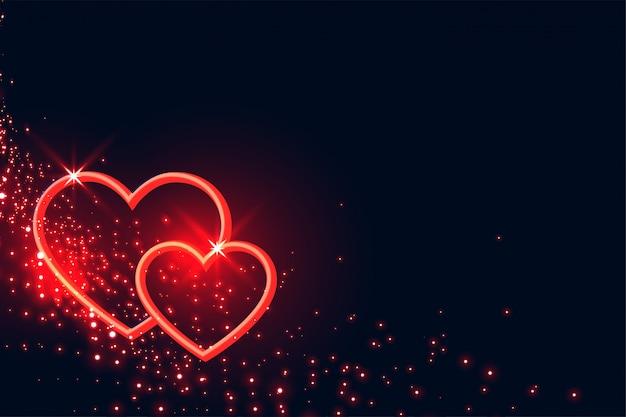 Corazones rojos de lovelt brilla el fondo del día de san valentín