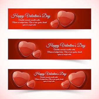 Corazones rojos románticos horizontales banderas del día de san valentín plano aislado ilustración vectorial