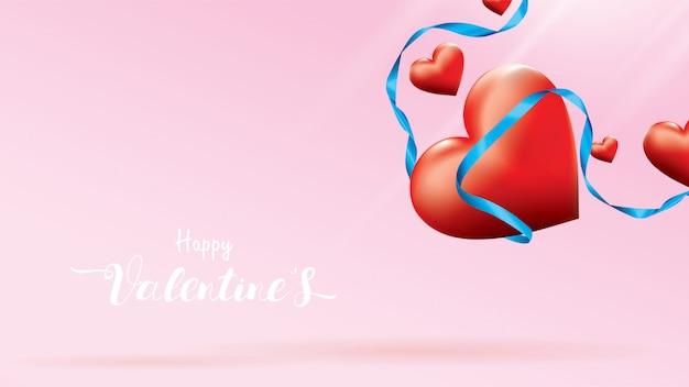 Los corazones románticos rojos coloridos de la tarjeta del día de san valentín 3d vuelan y la cinta de seda azul flotante
