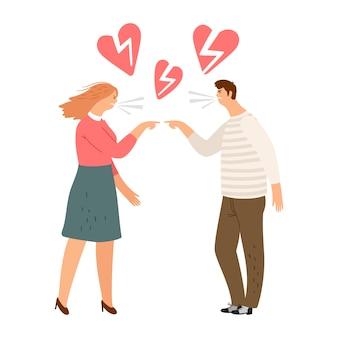 Corazones rotos, concepto de divorcio