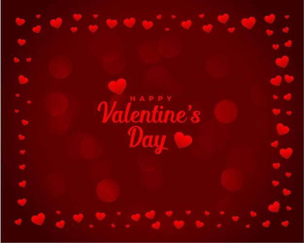 Corazones de san valentín marco tarjeta romántica
