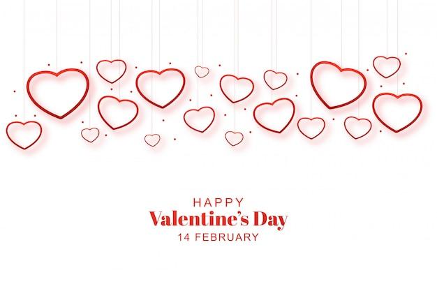 Corazones de san valentín románticos decorativos en tarjeta