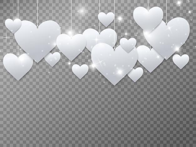 Los corazones son blancos hermosos corazones brillantes sobre un fondo transparente.