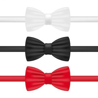 Corbata de moño. pajarita blanca, negra y roja ilustración vectorial de stock realista aislado en blanco.