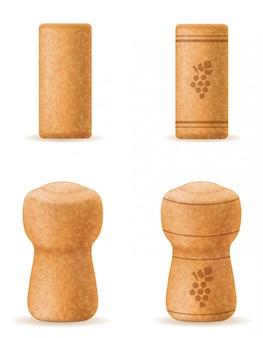 Corcho de corcho para la ilustración de vector de botella de vino y champagne