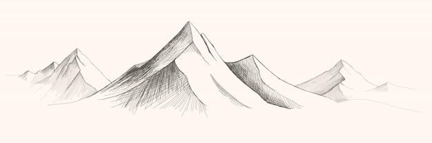 Cordilleras. ilustración de dibujo de panorama. ilustración de dibujo de montañas