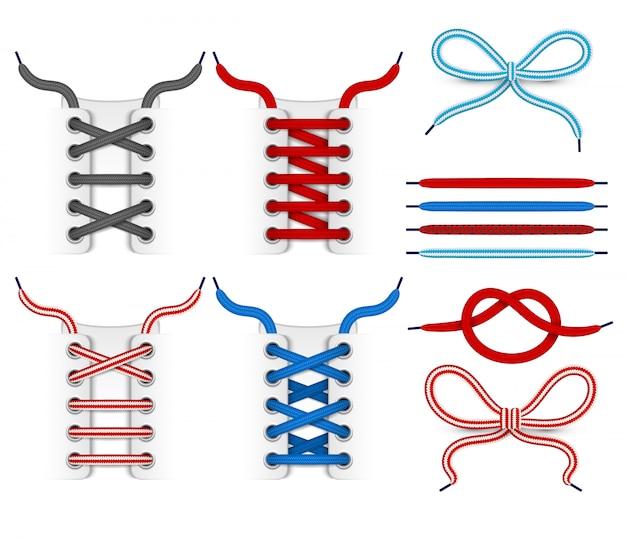 Cordón de los zapatos atar iconos vectoriales. cordón de color para calzado, ilustración de zapato de encaje de color