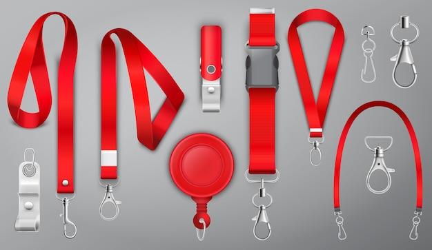 Cordones rojos con cierre de garra de metal