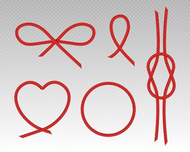 Cordones de seda roja corazón arco marco redondo y nudo de cuerda de satén hilos escarlata artículos de costura decorativos lazo borde curva y cintas retorcidas conjunto aislado