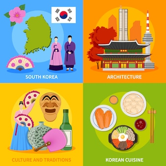 Corea cultura 4 iconos planos cuadrados