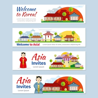 Corea, japón, tailandia viajes vector conjunto de plantillas de banners.