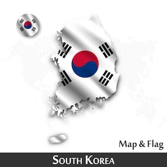 Corea del sur mapa y bandera. agitando diseño textil. punto mapa del mundo de fondo.