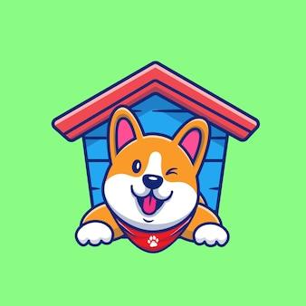 Corgi lindo en la ilustración del icono de la historieta de la caseta del perro. concepto de icono animal aislado. estilo de dibujos animados plana