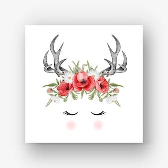 Cornamenta de ciervo flor amapola roja ilustración acuarela