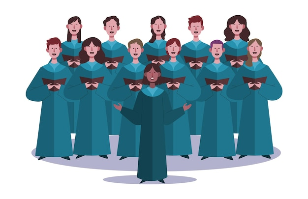 Coro de gospel cantando juntos