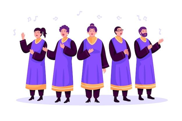 Coro de gospel cantando