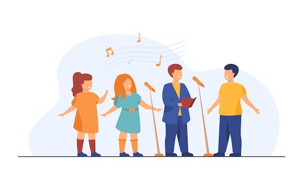 Coro de niños cantando una canción en la iglesia ilustración plana