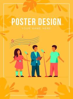 Coro de niños cantando una canción en la plantilla de póster de la iglesia