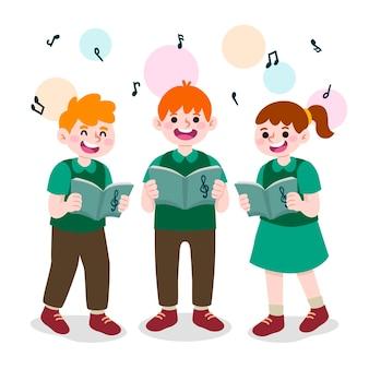 Coro de niños cantando estilo de dibujos animados