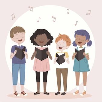 Coro de niños cantando