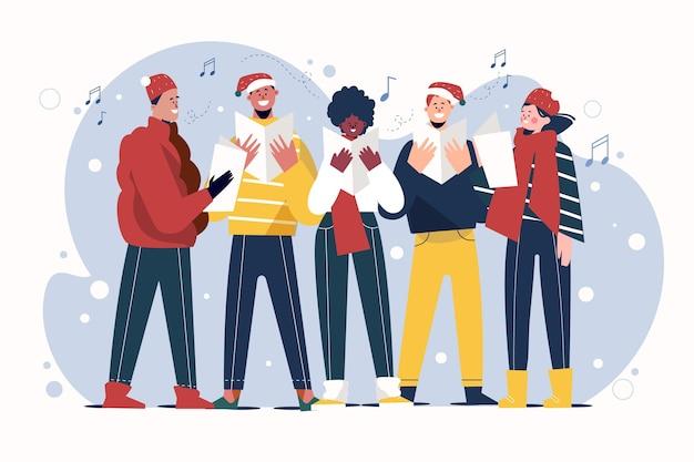 Coro de personas cantando villancicos