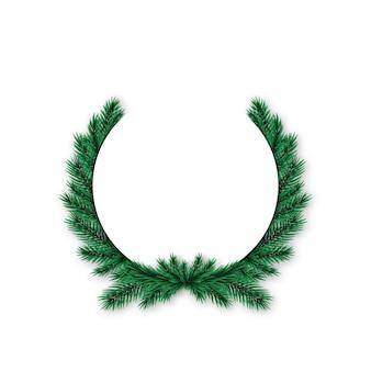 Corona de abeto de navidad realista.