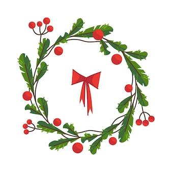 Corona de abeto navideño hecha de ramas y frutos rojos hermoso marco navideño para texto