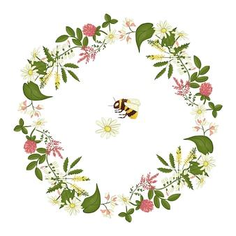 Corona de acacia, brezo, manzanilla.