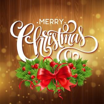 Corona de acebo de navidad con banner de texto
