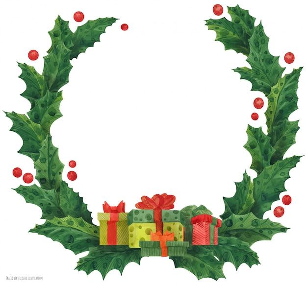 Corona de acebo de navidad con cajas de regalo y bastones de caramelo, ilustración acuarela