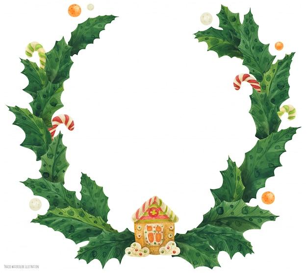 Corona de acebo de navidad con casa de pan de jengibre, ilustración acuarela