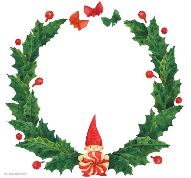 Corona de acebo de navidad con gnomo