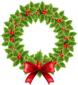 Corona de acebo de navidad