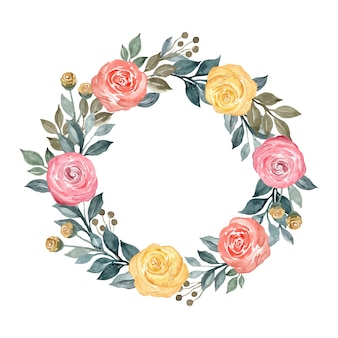 Corona de acuarela con flor amarilla y flor roja