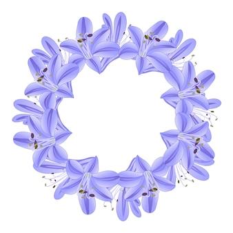 Corona de agapantos azul morado