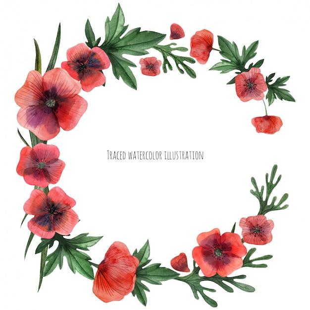 Corona de amapolas rojas