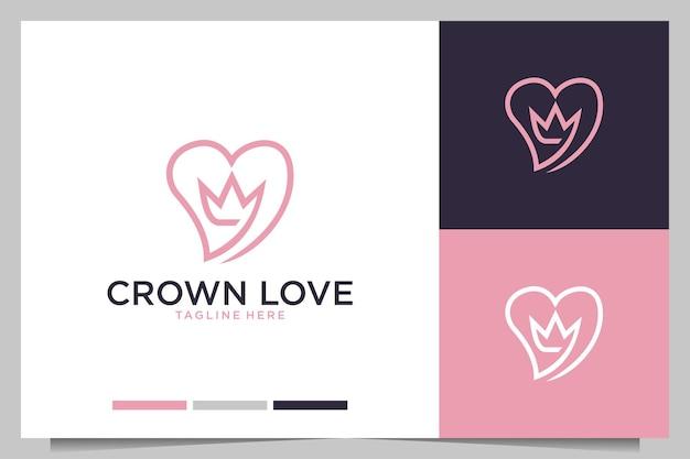 Corona con amor elegante diseño de logotipo