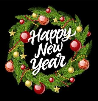 Corona de año nuevo - ilustración realista vector moderno con texto de caligrafía sobre fondo negro. decoración luminosa con aguja de pino, guirnalda, bolas y estrellas. perfecto como tarjeta de felicitación, invitación.