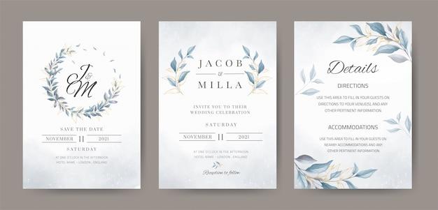 Corona azul deja plantilla de invitación de boda acuarela con licencia de oro.