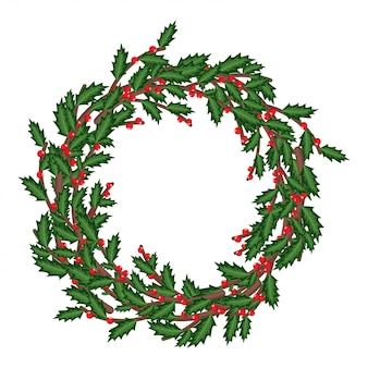 Corona de bayas de acebo de navidad.