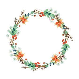Corona de bayas y agujas. año nuevo o corona de otoño