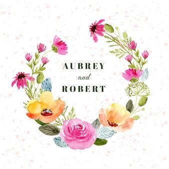 Corona de boda con flores amarillas de acuarela rosa