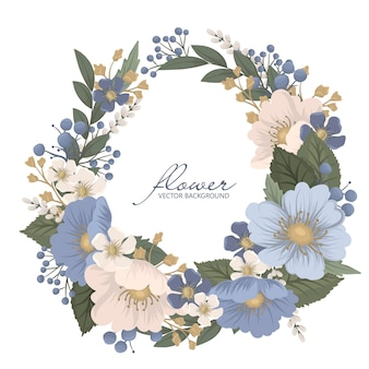 Corona botánica con flores azules